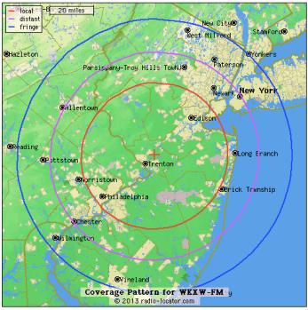 NJ101.5 Coverage Area