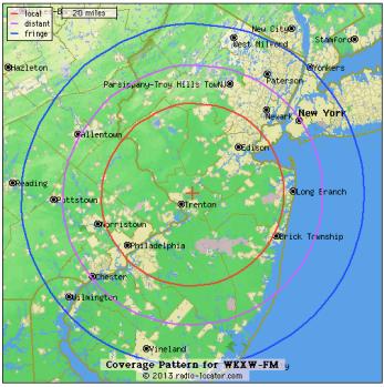 NJ101.5 Coverage Area